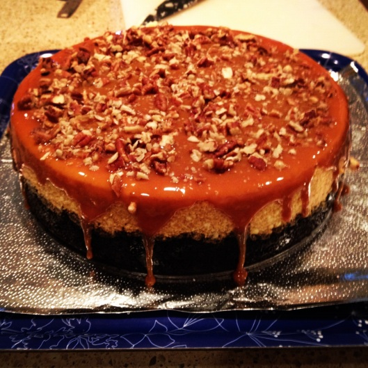 salted caramel pumpkin cheesecake with a chocolate crust