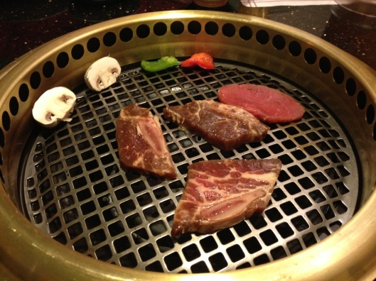 The Grill Tables in the back room of Ginza Bellevue. You get to grill succulent pieces of meat to your liking!