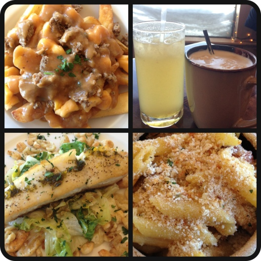 We had a surprisingly fancy lodge lunch. I was ready for pizza, beer, and chili cheese fries...instead we got Poutine, boozy beverages, halibut w/ spaetzle, and macncheese!