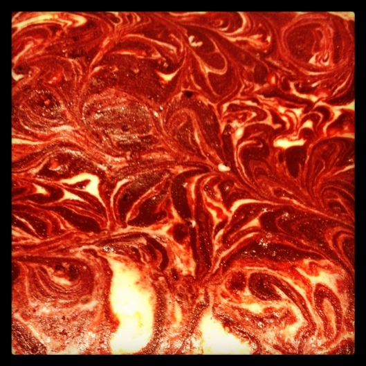 Pretty swirl batter before going into the oven!