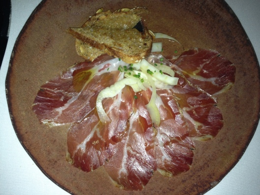 First Course: Smoked prosciutto with Volkhorn toast and pickled fennel