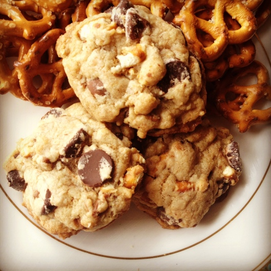 Chocolate Chip Cookies with Pretzels and Toffee bits