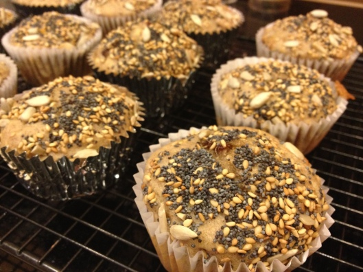 Banana Date Muffins with a seed topping