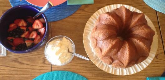 Sauv Blanc Pound Cake with berries and cream.