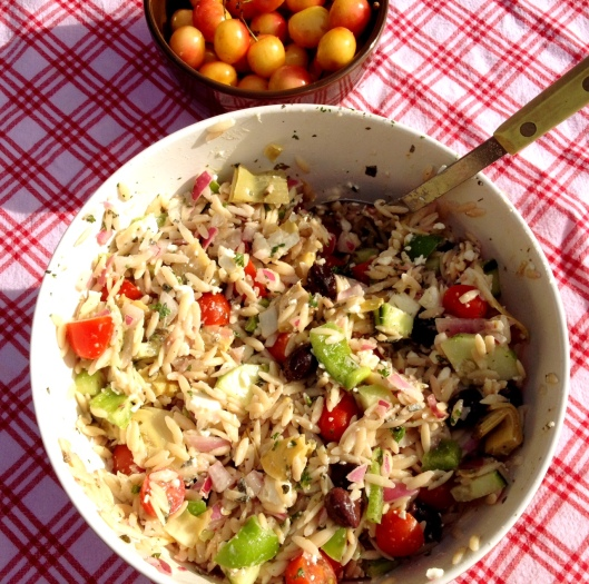 You know Summer is in the Northwest when you see Ranier Cherries...And for me it becomes official when I make this Greek Orzo Salad.