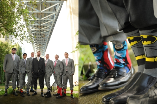 Jordan bought all of his groomsmen different superhero socks, all fitting their unique personalities. It was one of the small touches from our Wedding that we loved, even if most people didn't know about it! Image from JKoe Photography.