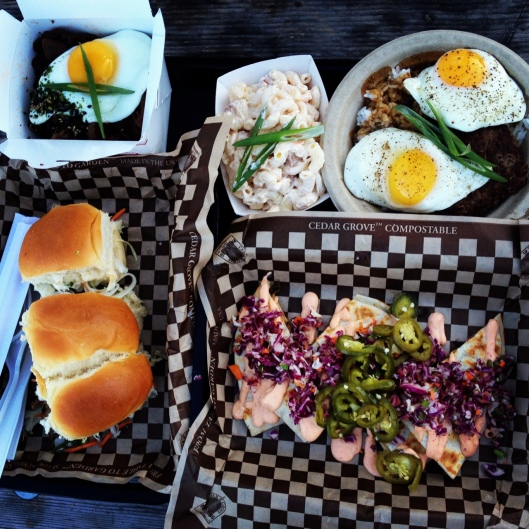 Epic Grub at Marination Ma Kai (clockwise from top left): Kimchi Fried Rice, mac salad, Loco Moco, Kimchi Quesadilla, and Pork & Spam Sliders. Drool.