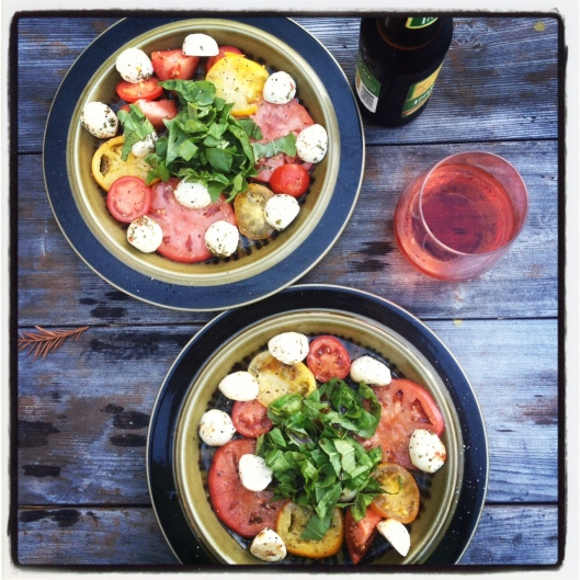Caprese Salad made from our garden, with delicious Rose Wine.
