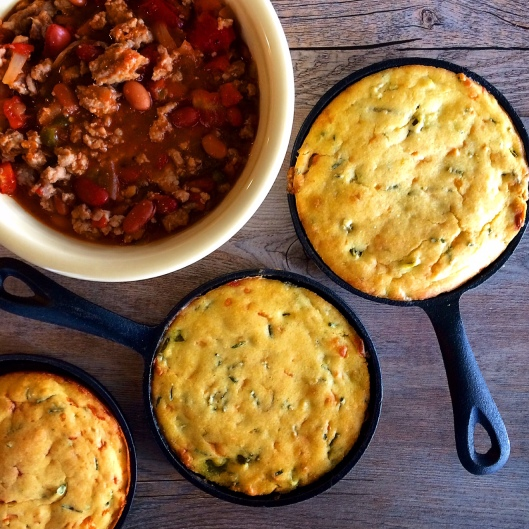 Chili and Mini Cornbread Skillets