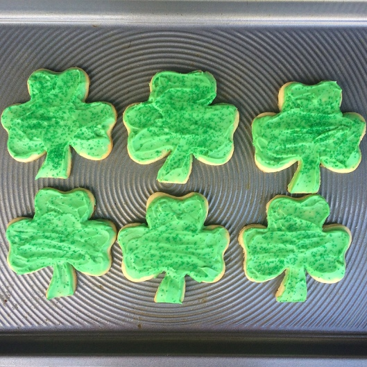 Shamrock Sugar Cookies with Bailey's Buttercream