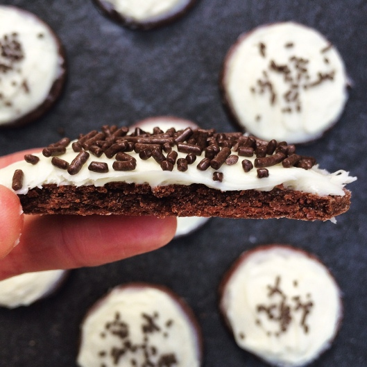 Chocolate Sugar Cookies with Cream Cheese Frosting